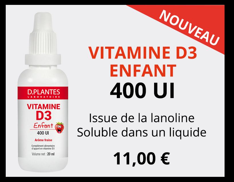 Vitamine D3 Enfant 400 UI, Laboratoire D.Plantes